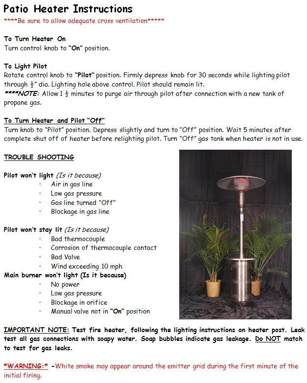 Patio Heater Instructions