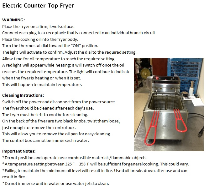 Electric Counter Top Fryer Instructions PIc