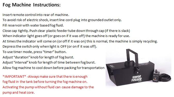 Fog Machine Instruction Pic