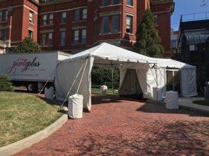 tent at Johns Hopkins